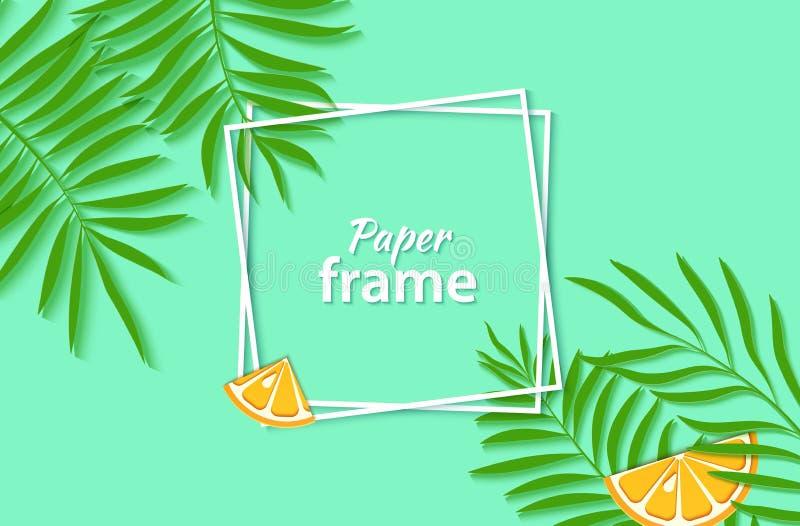 Papper klippte två vita fyrkantiga ramar med tropiska palmblad och skivar orange citrusfrukt Vektorkortillustration med vektor illustrationer