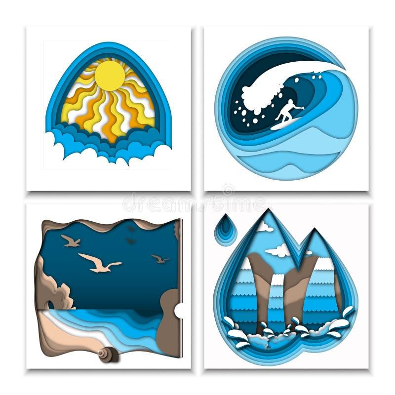 Papper klippte ut stilsommaraffischer med solen, moln, surfare på den höga havvågen, havsstrand, vaggar, fåglar och vattenfallet royaltyfri illustrationer