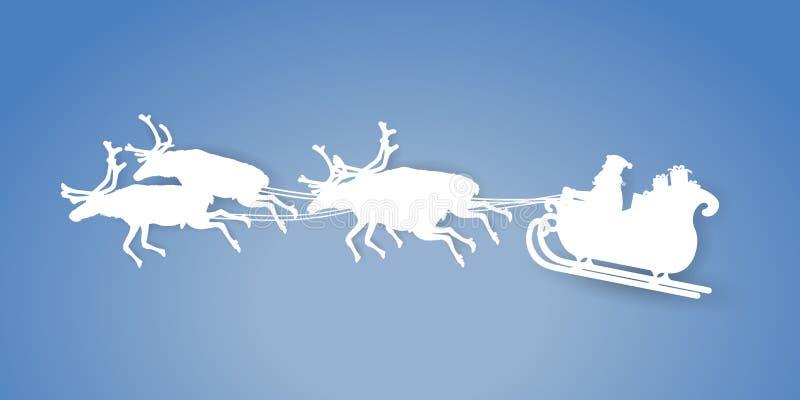 Papper klippte vektorlandskapet av fadern Christmas som rider hans släde med renen på blå bakgrund stock illustrationer