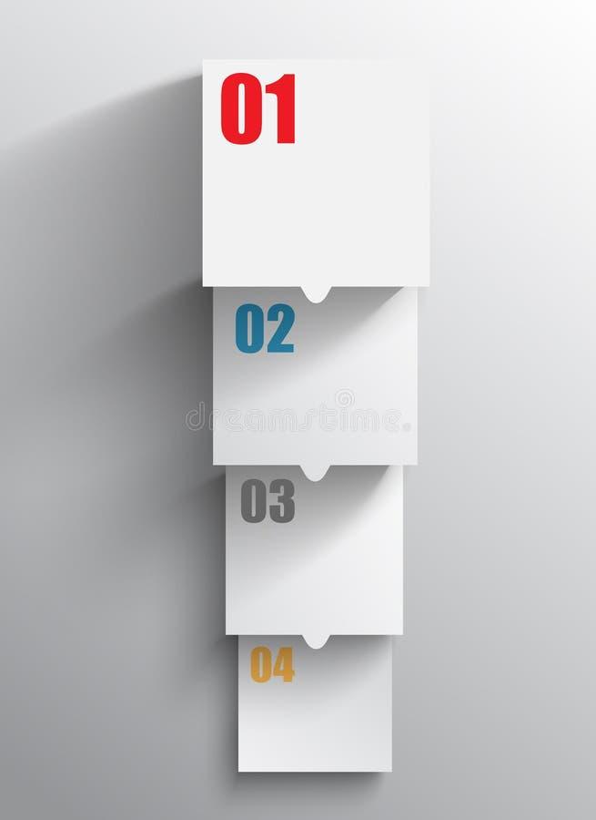 Papper kvadrerar för infographicsen, tillväxten av dina data royaltyfri illustrationer