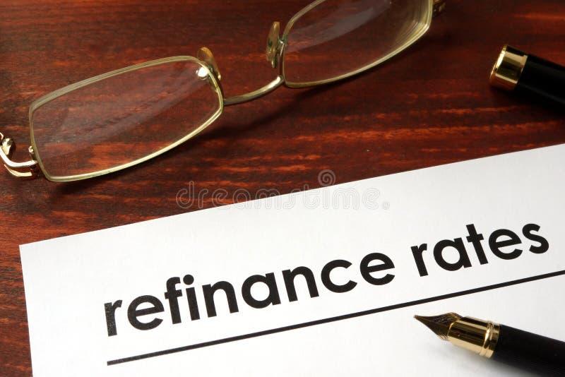 Papper med ord refinance hastigheter royaltyfri fotografi