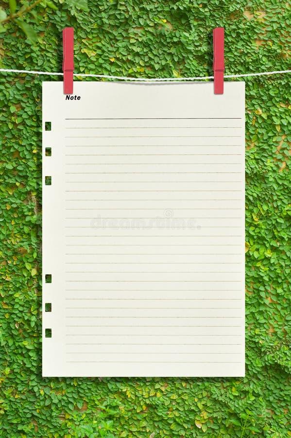 Papper och rött gem på gräsplansidaväggen för kommunikation arkivfoto