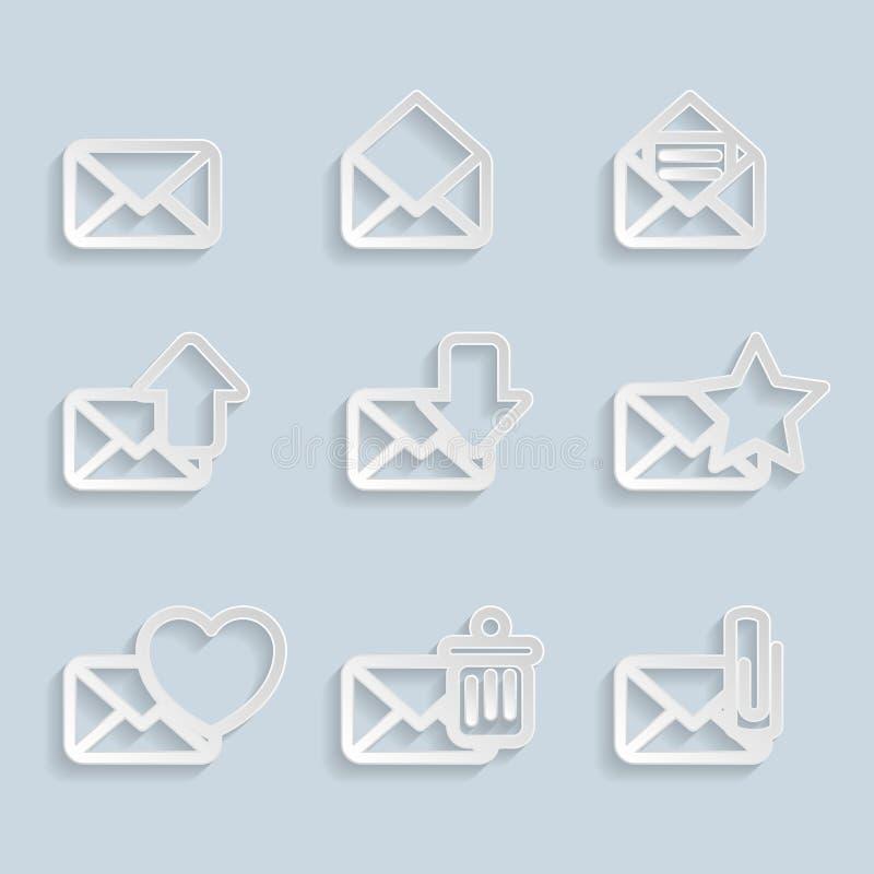 Papper packar symboler in royaltyfri illustrationer