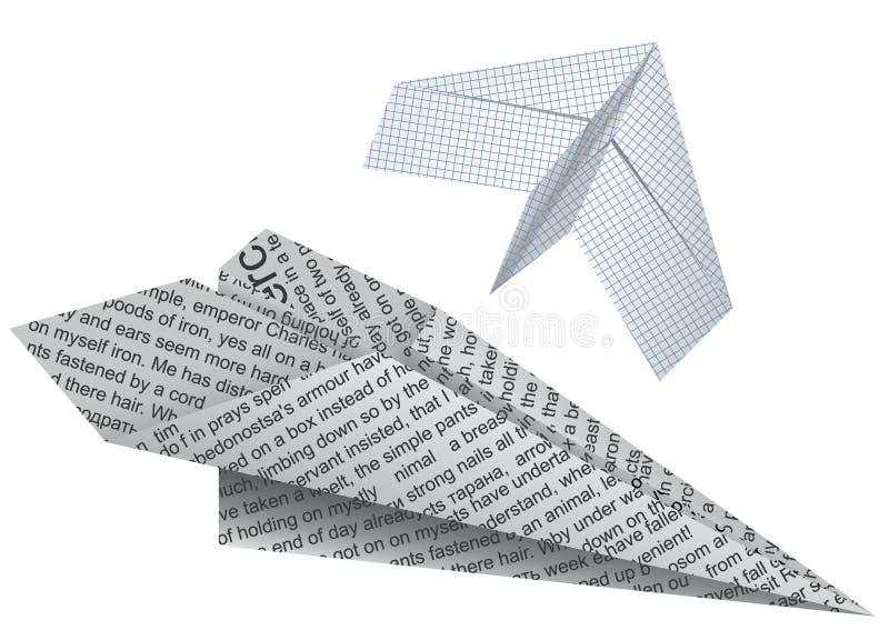 papper planes två royaltyfri illustrationer