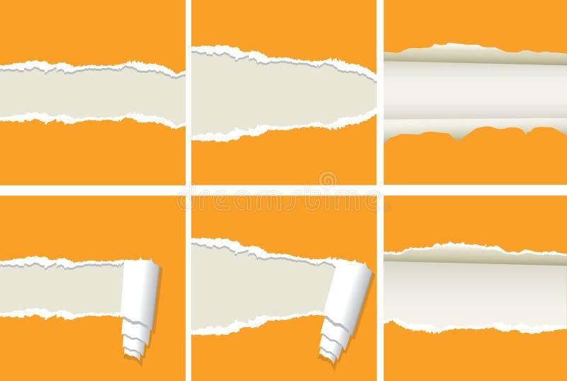 papper riven sönder vektor stock illustrationer