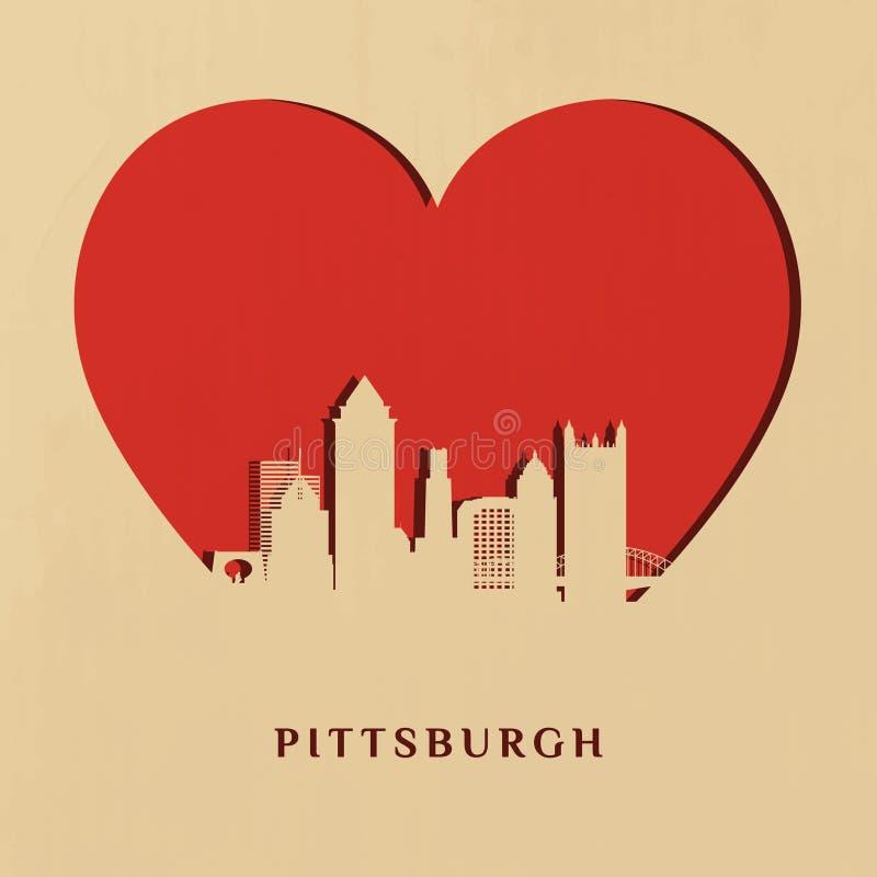 Papper-snitt kontur av Pittsburgh horisont stock illustrationer