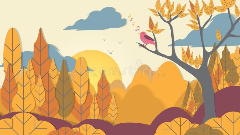 Papper-snitt stilfågel på trädfilial med Forest Background - Vec vektor illustrationer