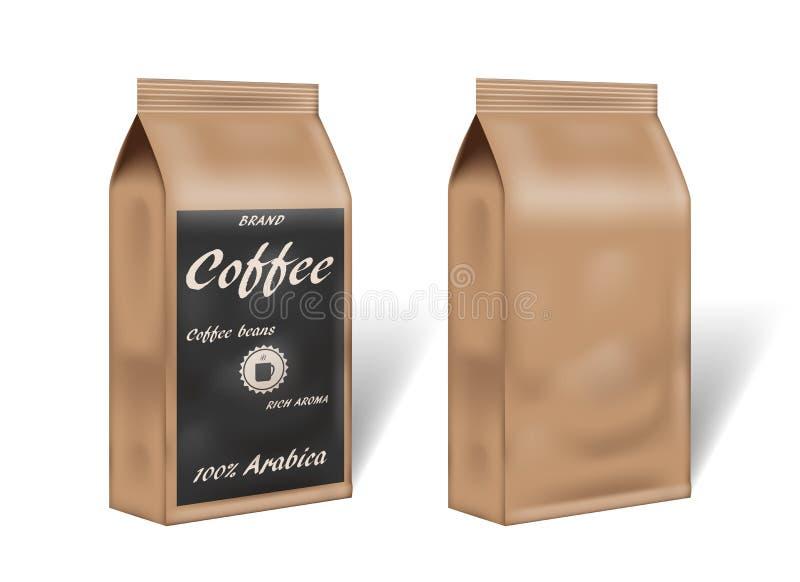 Pappers- åtlöje för design för arabicakaffepacke upp tom kaffemall som förpackar i tappningstil vektor för illustration 3d royaltyfri illustrationer