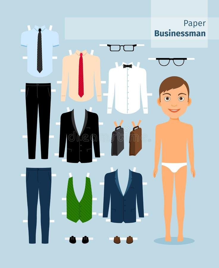 Pappers- affärsman Dräkt skjorta, exponeringsglas och stock illustrationer