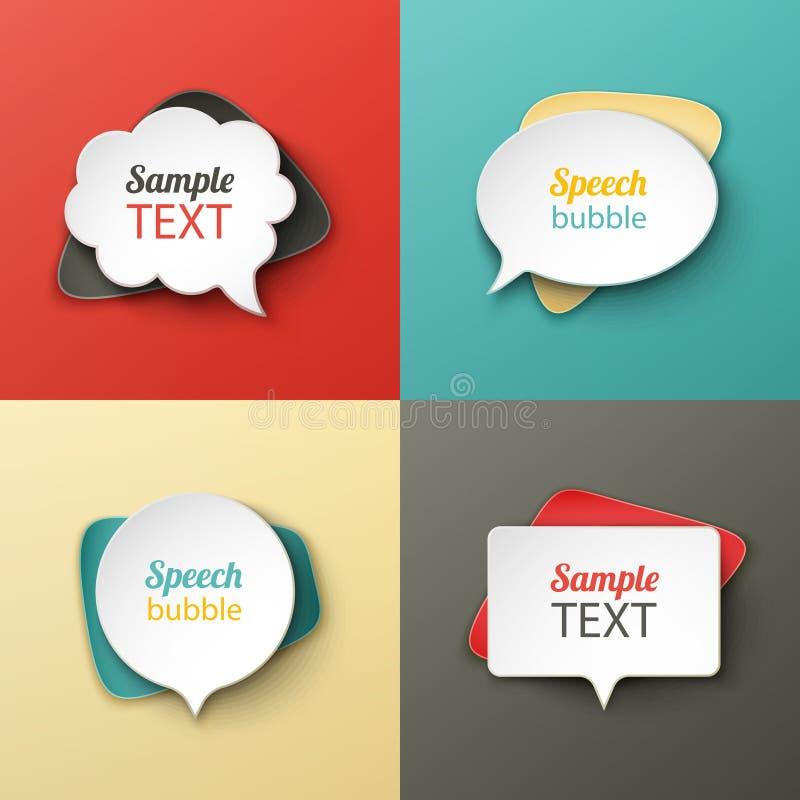 Pappers- anförande bubblar olika former med skuggorna