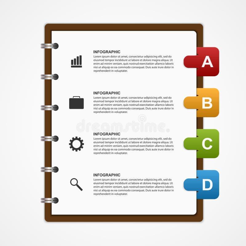 Pappers- anteckningsbok för utbildnings- eller för affärsInfographic design beståndsdel stock illustrationer