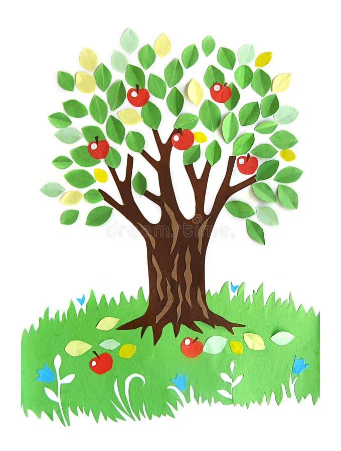 Pappers- applique - ett träd med äpplen royaltyfri illustrationer