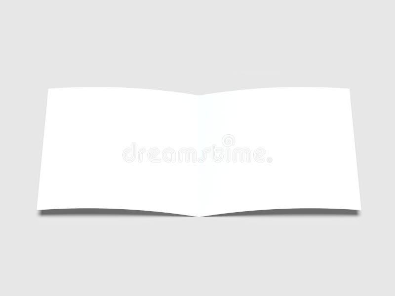 Pappers- ark med mjuka skuggor på en ljus bakgrund Orientering av en öppen vykort illustration 3d vektor illustrationer