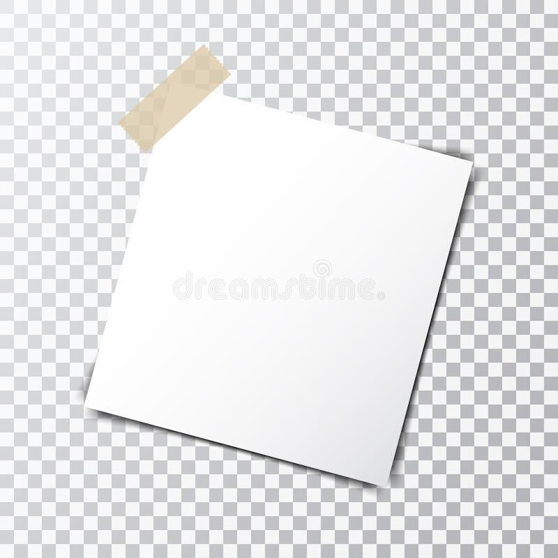 Pappers- ark på det klibbiga bandet med genomskinlig skugga som isoleras på en genomskinlig bakgrund vektor illustrationer