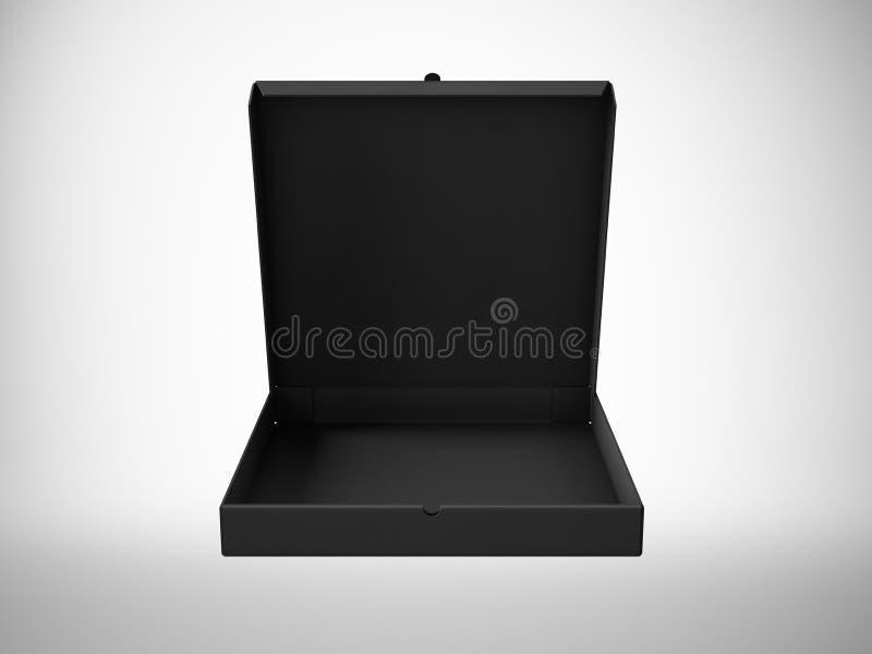 Pappers- ask för tom pizza för svart som öppen isoleras på vit bakgrund Horisontalåtlöje upp 3d framför arkivfoton