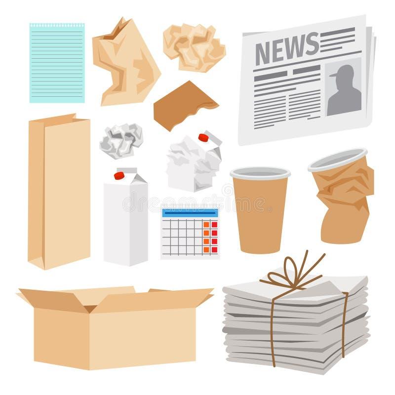 Pappers- avfallsymbolssamling royaltyfri illustrationer