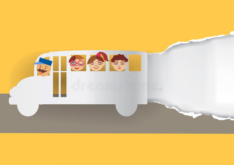 Pappers- bakgrund för skolbuss vektor illustrationer