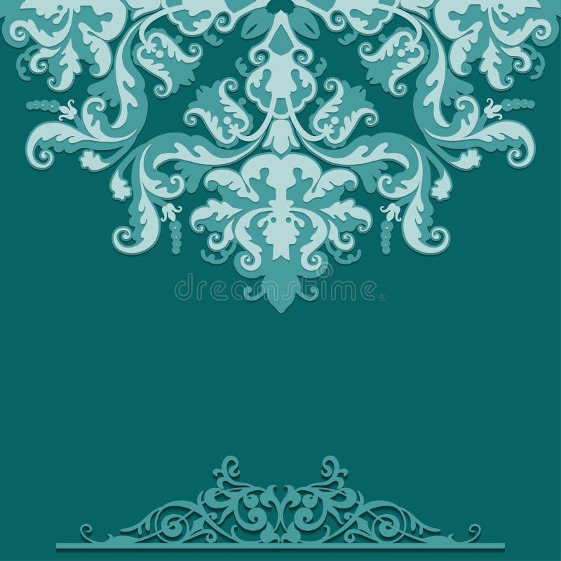 Pappers- bakgrund med den damast prydnaden vektor illustrationer