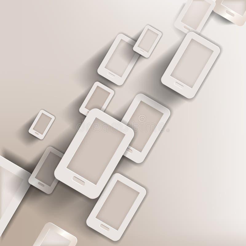 Pappers- bakgrund med telefonrengöringsduksymbolen, lägenhetdesign stock illustrationer