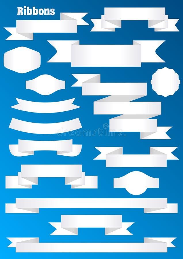 Pappers- bandbaner och etiketter vektor illustrationer