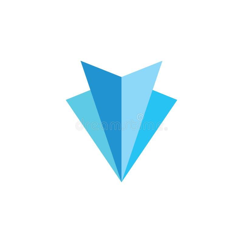 Pappers- blå enkel logovektor för konst 3d stock illustrationer