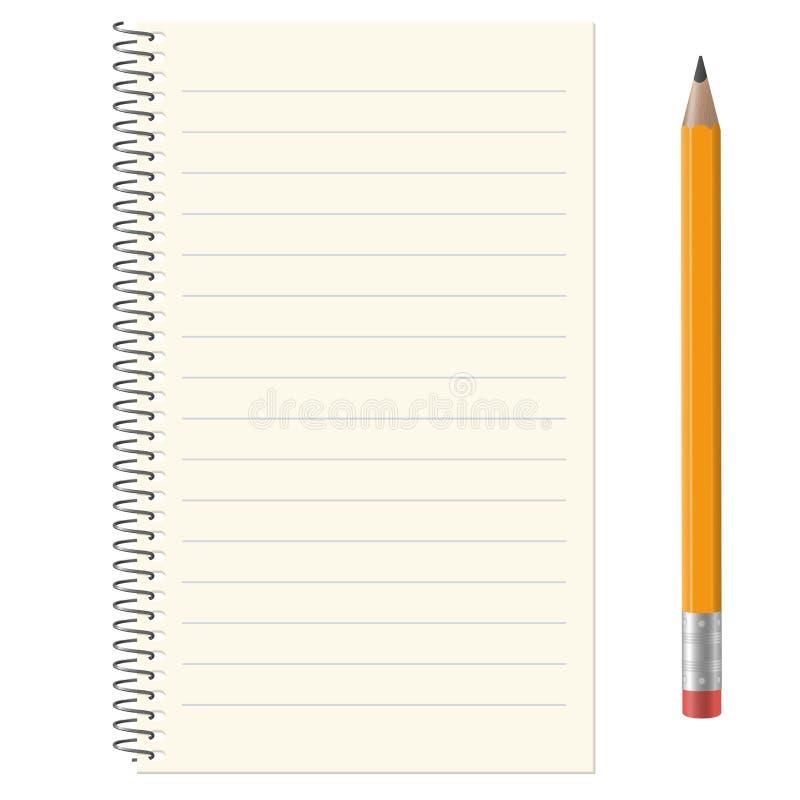 Pappers- block med blyertspennan royaltyfri illustrationer