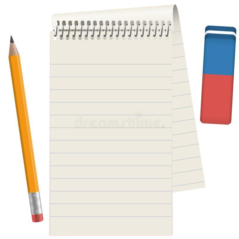 Pappers- block med blyertspennan och radergummit royaltyfri illustrationer