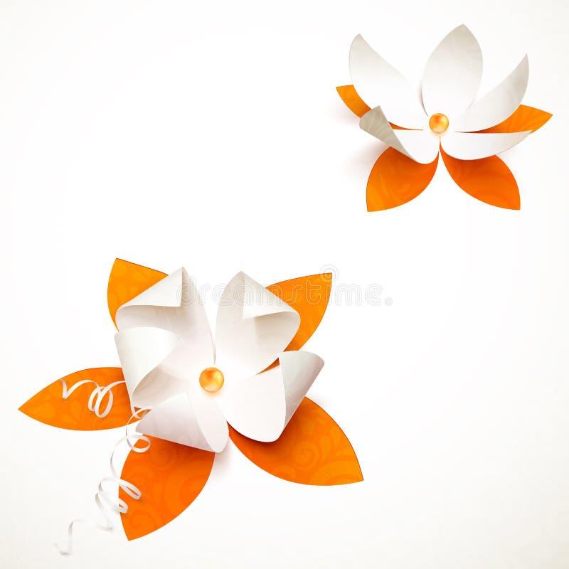 Pappers- blomma för orange utklipp stock illustrationer