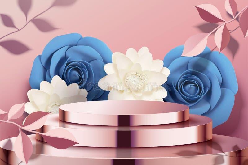 Pappers- blommor och metallpodium stock illustrationer