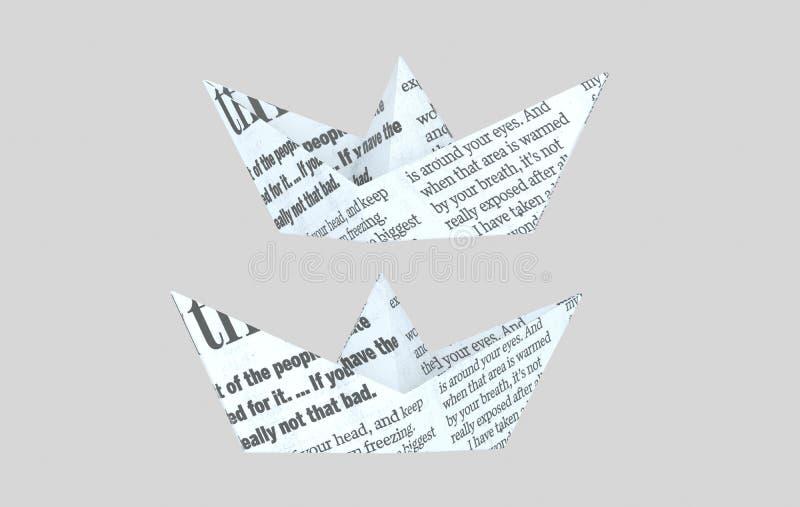Pappers- boatt för tidning pappersfartyg för illustrationWhite 3d arkivfoton