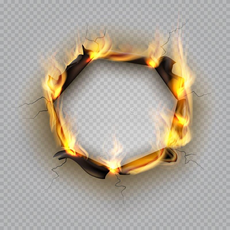 Pappers- brännskadahål Flammakanteffekt brände effekt sönderriven exploderar gränsen förstörda spruckna ramen för sidavärme Vekto stock illustrationer