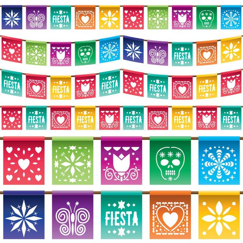 Pappers- bunting för mexikan vektor illustrationer