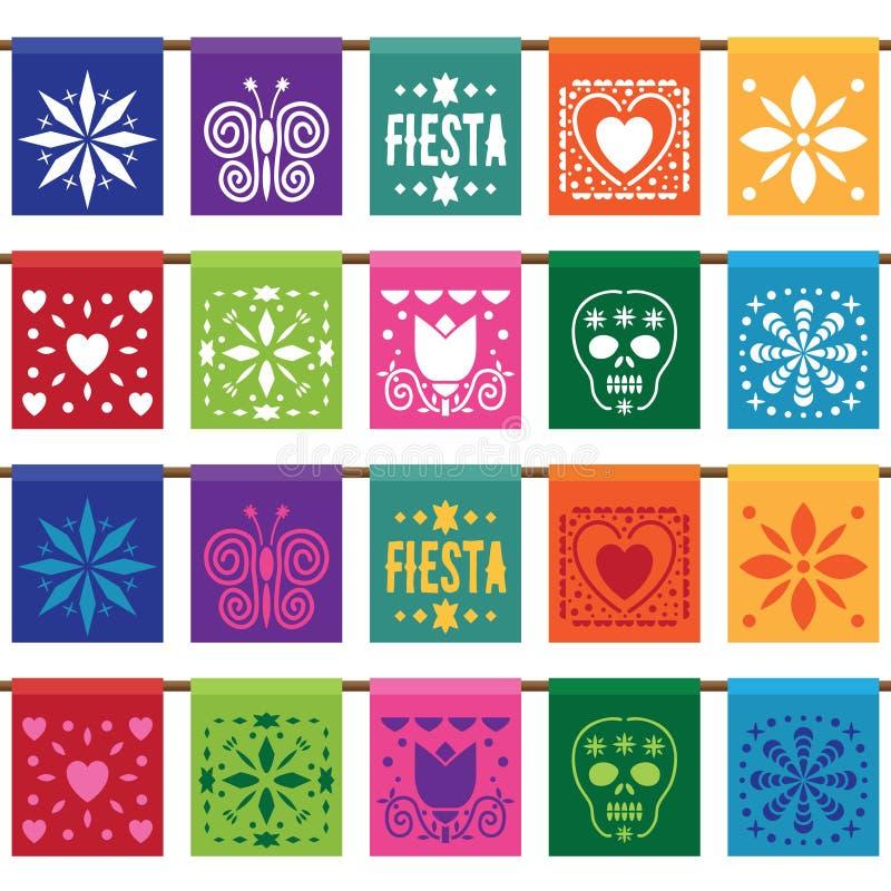 Pappers- bunting för mexikan stock illustrationer