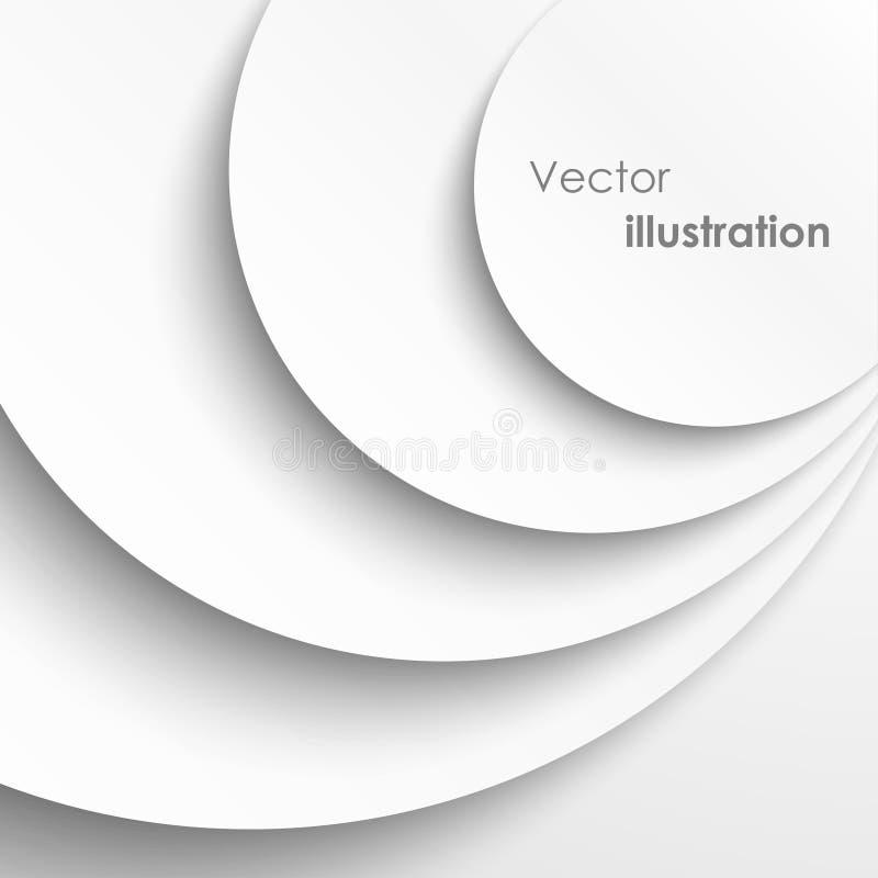 Pappers- cirklar med tappar skuggar bakgrund stock illustrationer