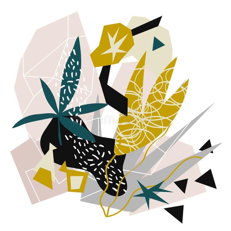 Pappers- collage för abstrakta blom- beståndsdelar dragen vektorillustrationhand stock illustrationer