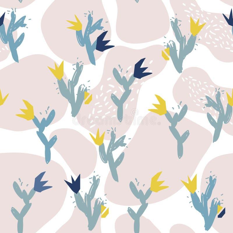 Pappers- collage för abstrakta blom- beståndsdelar dragen vektorillustrationhand vektor illustrationer