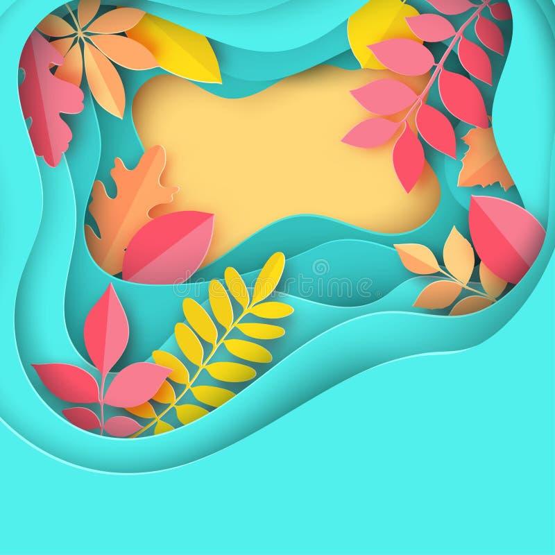 Pappers- den höstlönn, eken och annan lämnar pastell färgad bakgrund vektor illustrationer