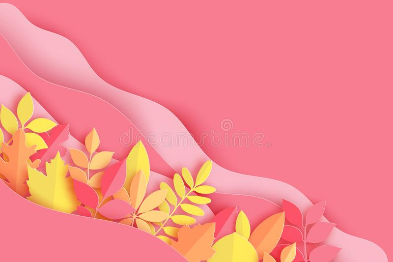 Pappers- den höstlönn, eken och annan lämnar och vinkar färgad pastell stock illustrationer