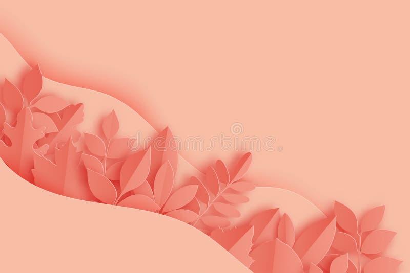 Pappers- den höstlönn, eken och annan lämnar och vinkar färgad pastell vektor illustrationer