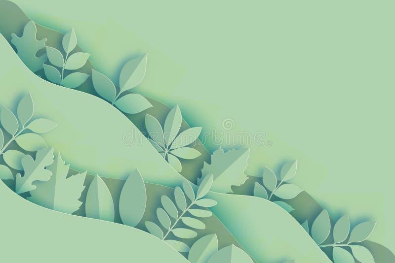 Pappers- den höstlönn, eken och annan lämnar och vinkar färgad pastell royaltyfri illustrationer