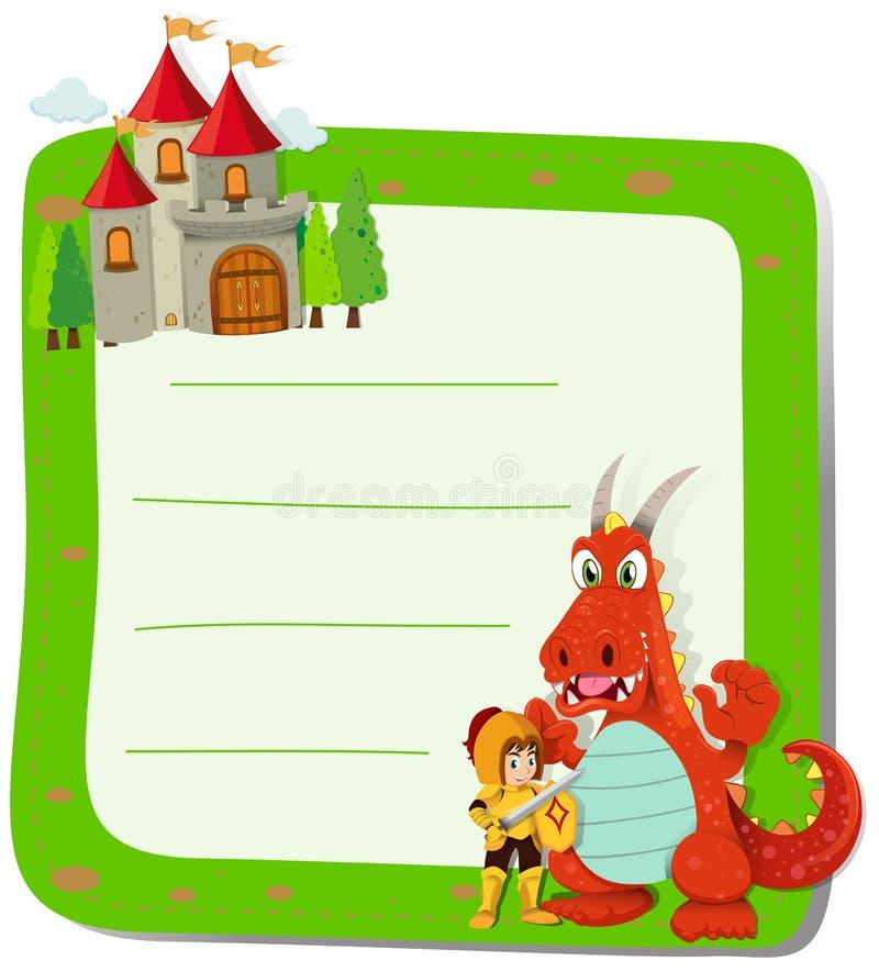 Pappers- design med draken och riddaren royaltyfri illustrationer