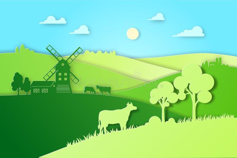 Pappers- designfält och begrepp för lantbruk för ängillustrationeco naturligt Illustration för lägenhet för lantgårdlandskapvekto vektor illustrationer