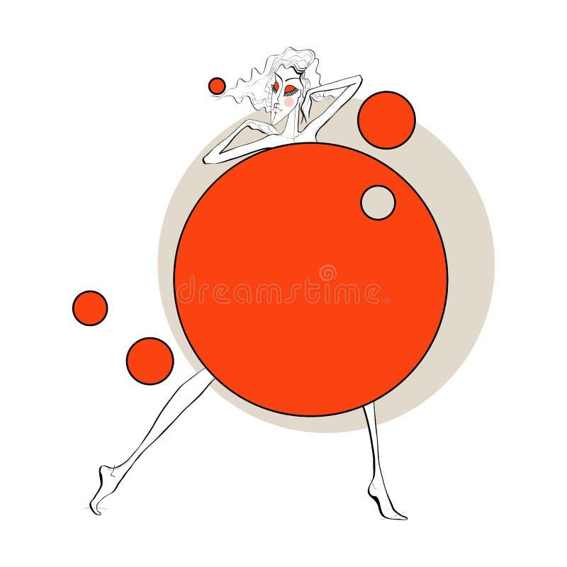 Pappers- docka med bollar stock illustrationer