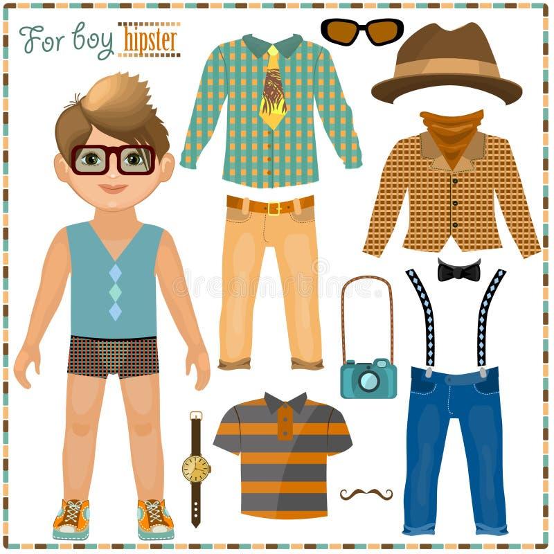Pappers- docka med en uppsättning av kläder. Gullig hipsterpojke. stock illustrationer