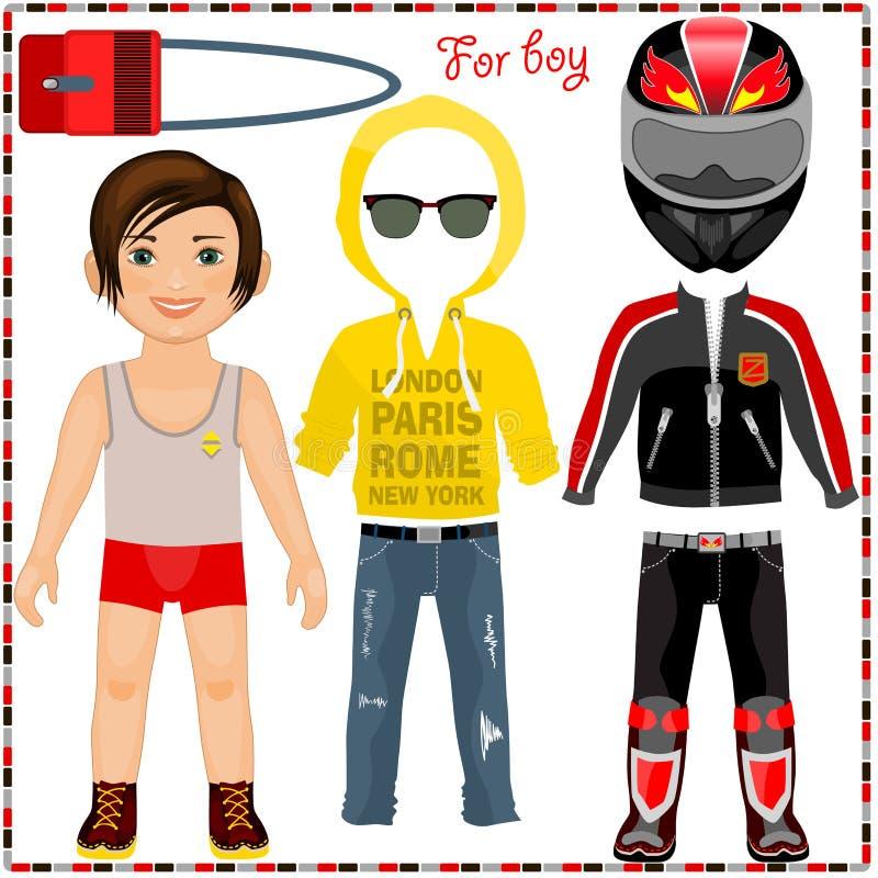 Pappers- docka med en uppsättning av kläder. Gullig moderiktig pojke. royaltyfri illustrationer