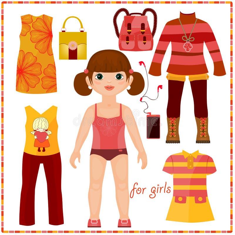Pappers- docka med en uppsättning av modekläder. Gullig gir vektor illustrationer