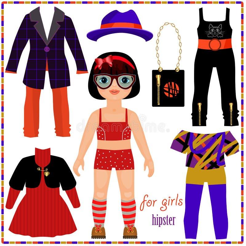 Pappers- docka med en uppsättning av modekläder. Gullig hipsterflicka. royaltyfri illustrationer