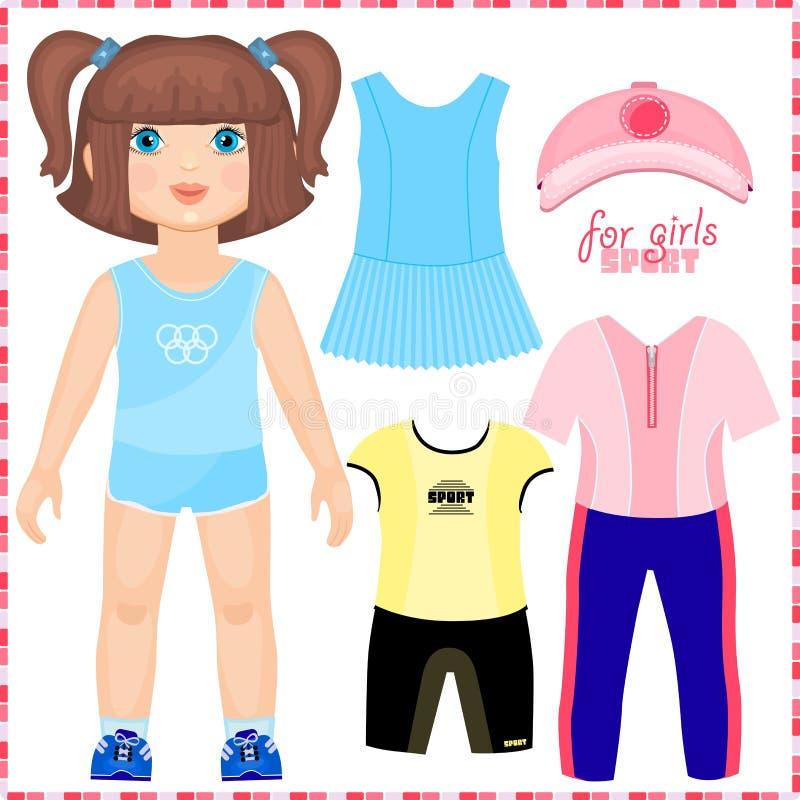 Pappers- docka med en uppsättning av sportkläder. stock illustrationer