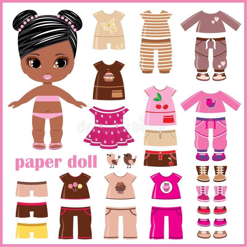 Pappers- docka med kläderuppsättningen vektor illustrationer