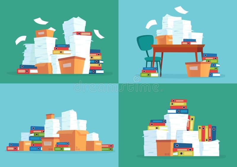 Pappers- dokument för kontor Arbetslegitimationshandlingar traver, dokumentmappar och vektorn för tecknad film för bunt för skriv royaltyfri illustrationer